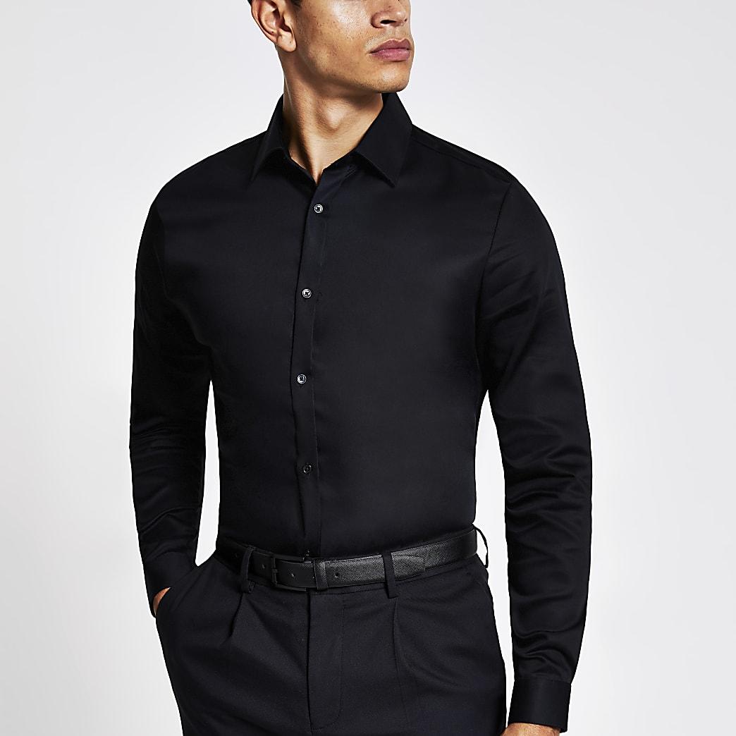 Zwart slim fit premium overhemd met lange mouwen
