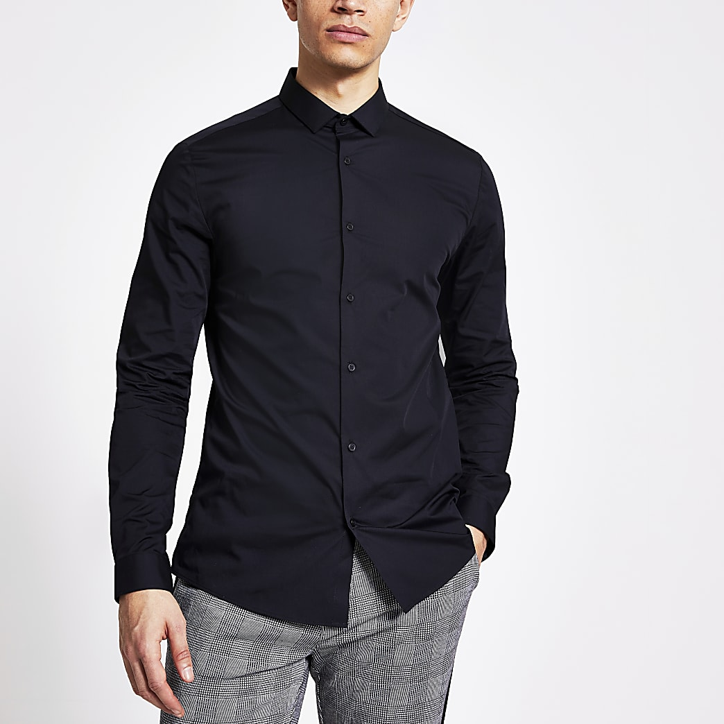 Black long sleeve slim fit shirt