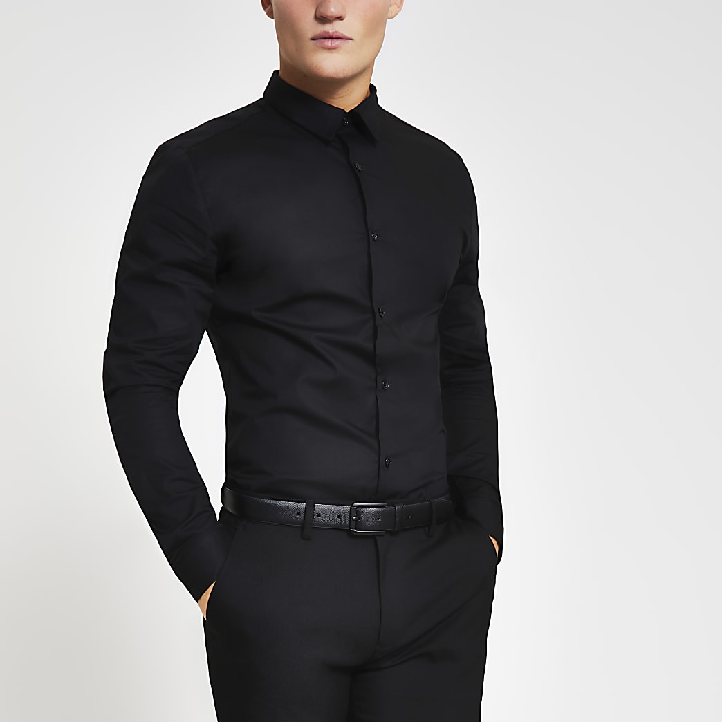 Black long sleeve slim fit stretch shirt