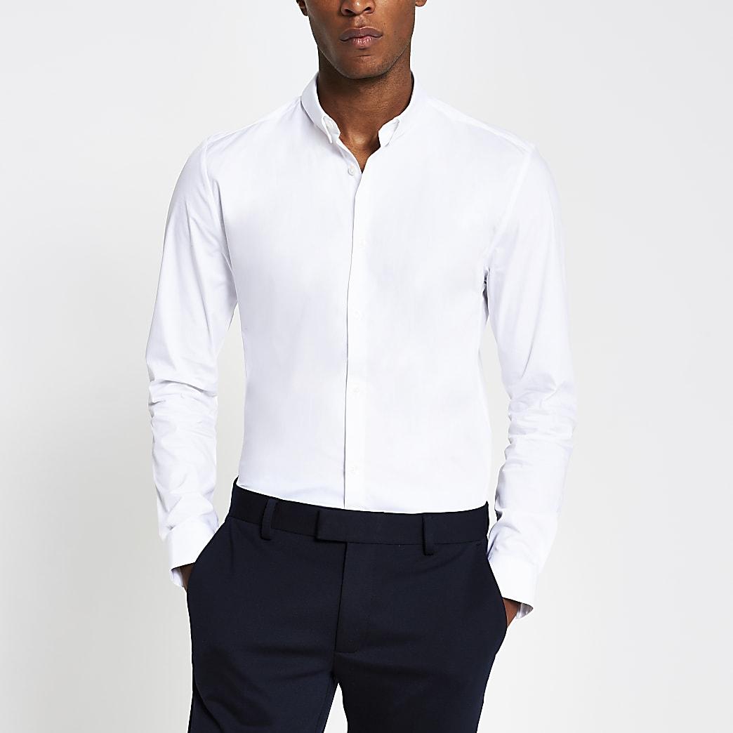 Black long sleeve slim fit stretch shirt