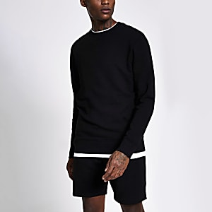Black long sleeve slim fit sweatshirt