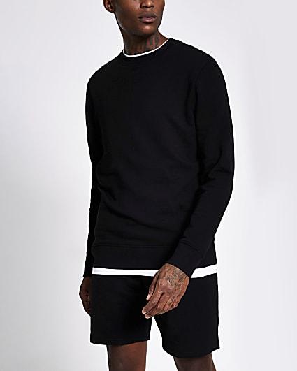 Black long sleeve slim fit sweatshirt