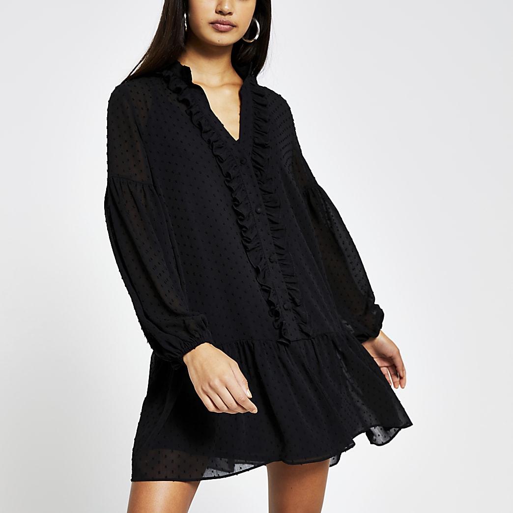 Black long sleeve smock dress