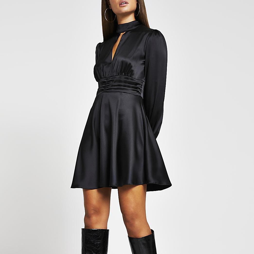 Black long sleeve split front skater dress