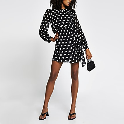 Black long sleeve spot tie waist mini dress