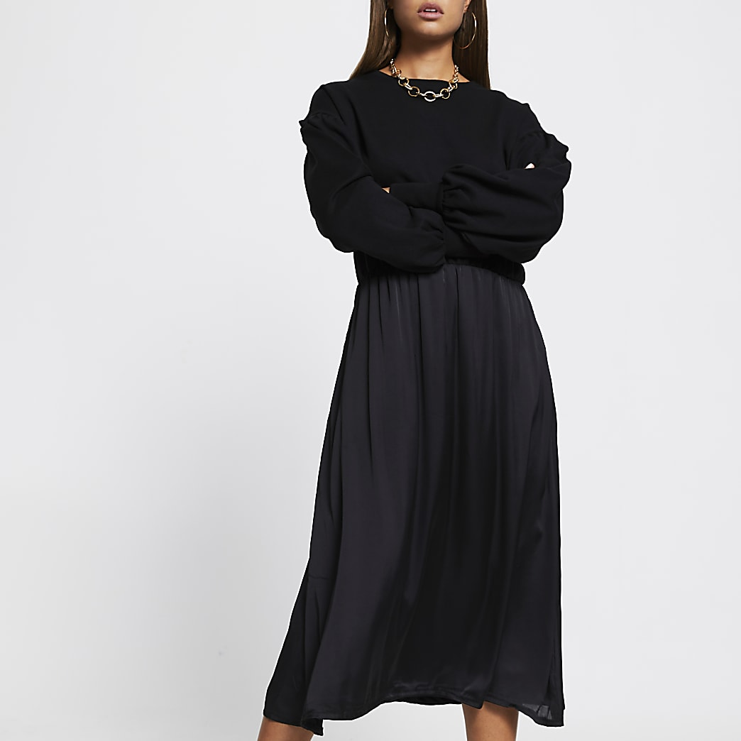 Black long sleeve sweater midi dress