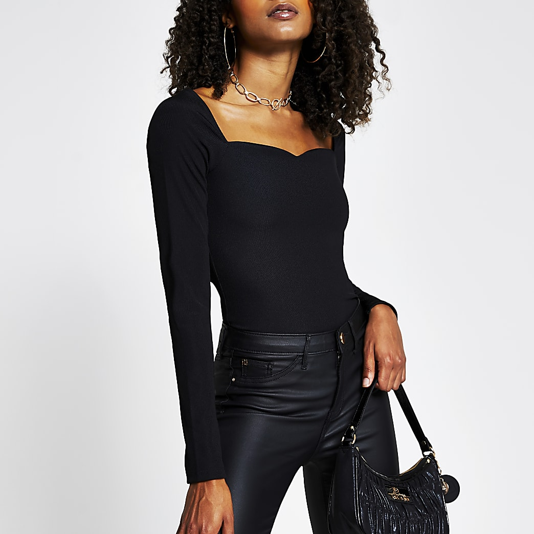 Black long sleeve sweetheart neckline top