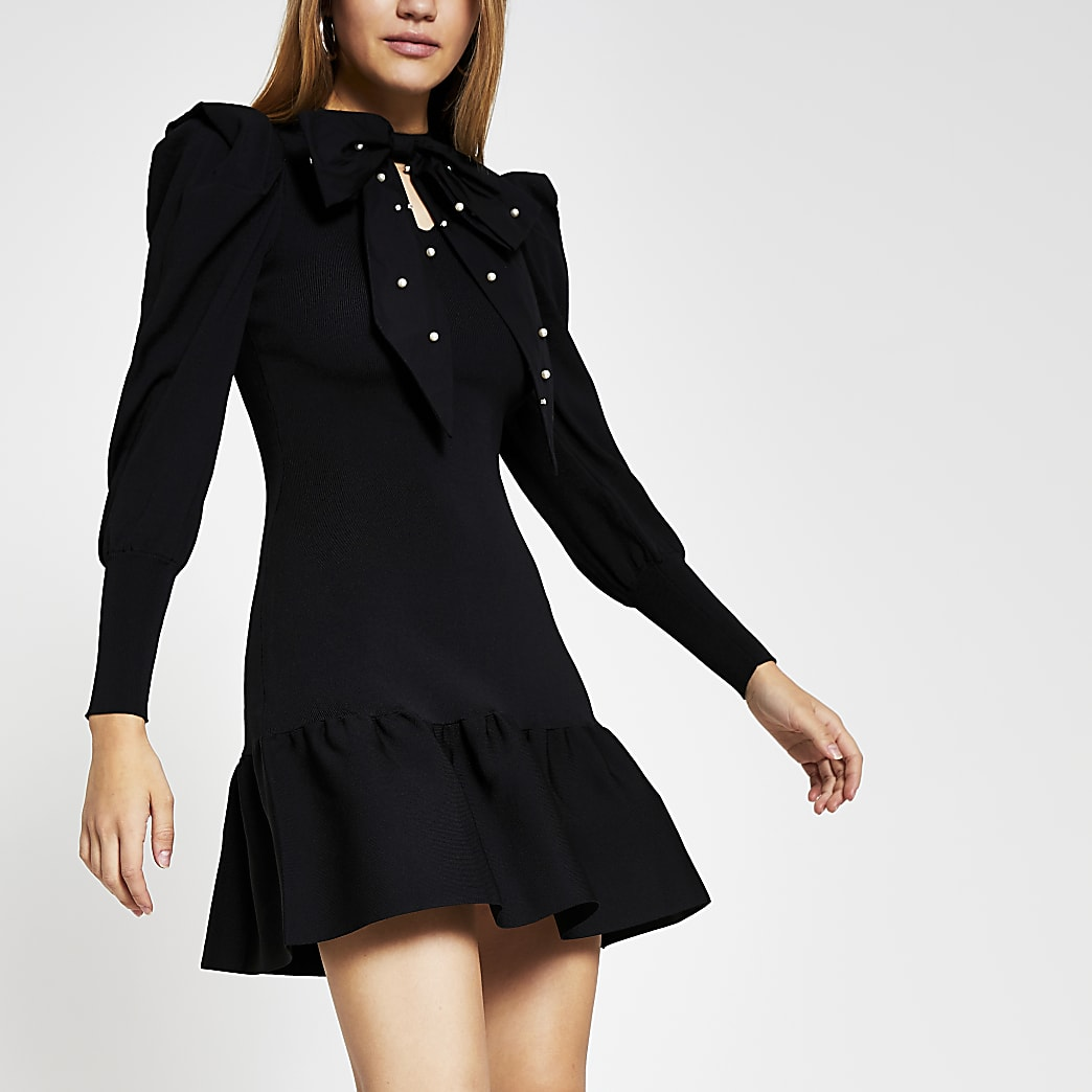 Black Long Sleeve taffeta bow mini dress