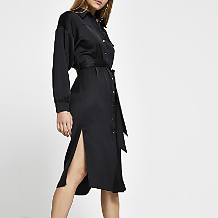 Black long sleeve tie belted shirt midi dress