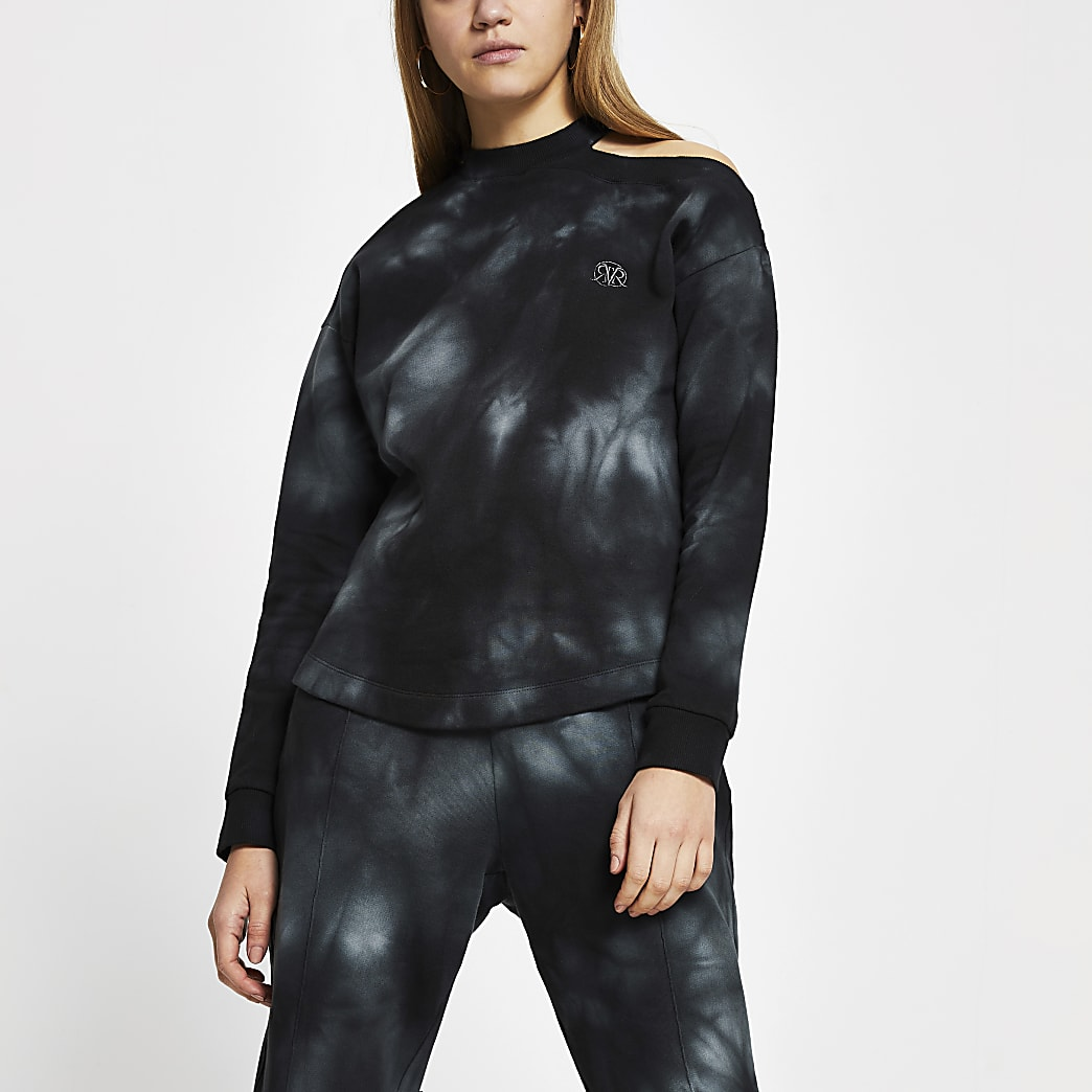 Black long sleeve tie dye cut out sweatsshirt
