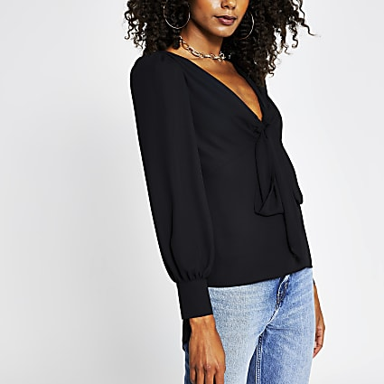 Black long sleeve tie front blouse