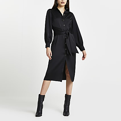 Black long sleeve tie front midi dress
