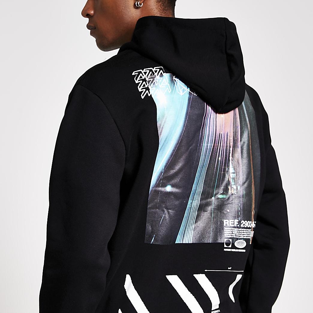Zwarte hoodie met lange mouwen en timelapse-print