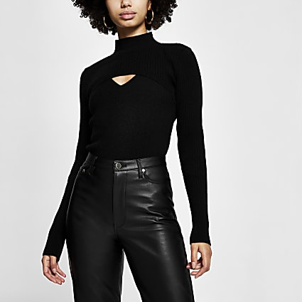 Black long sleeve turtle neck knitted top