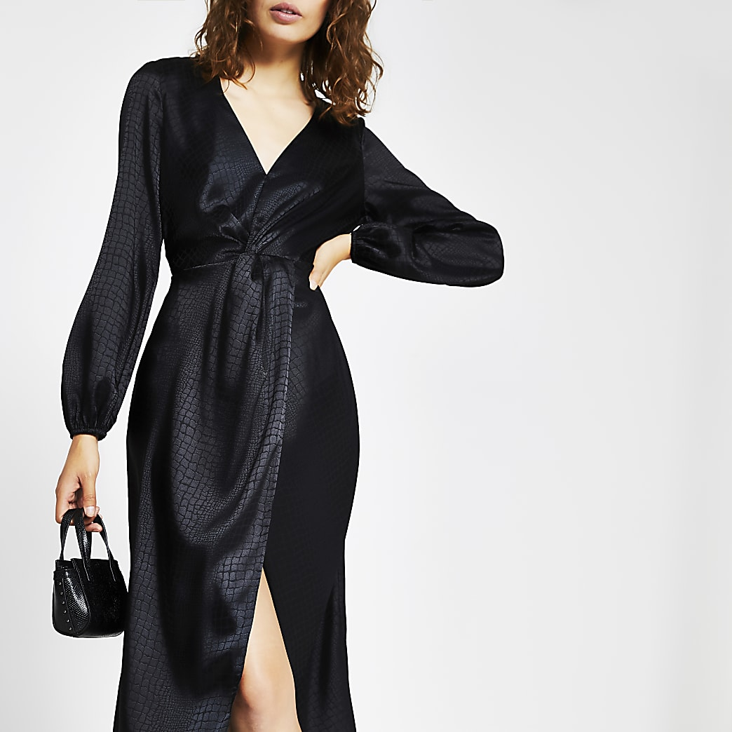 Black long sleeve twist front midi dress