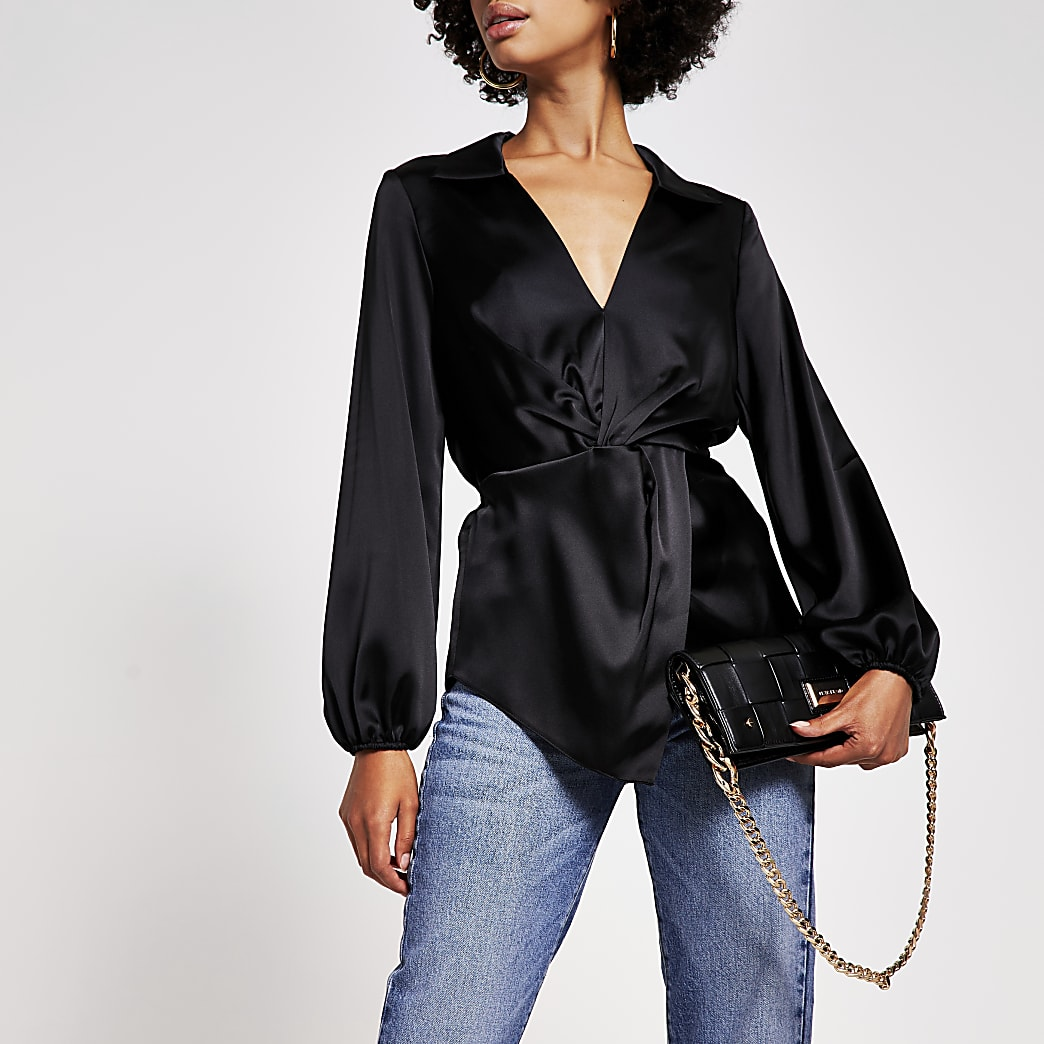 Black long sleeve twist front shirt
