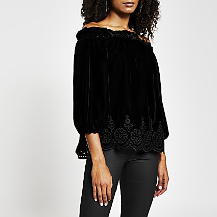 Black long sleeve velvet bardot top