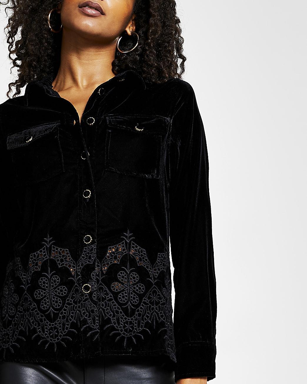 Black long sleeve velvet cut work hem shirt
