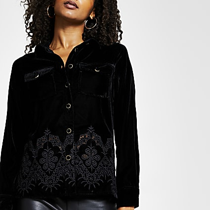 Black long sleeve velvet cut work hem shirt