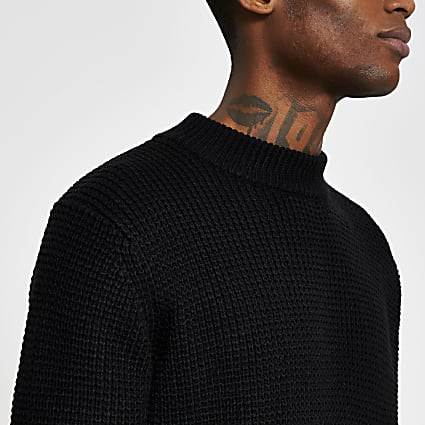 Black long sleeve waffle knitted jumper