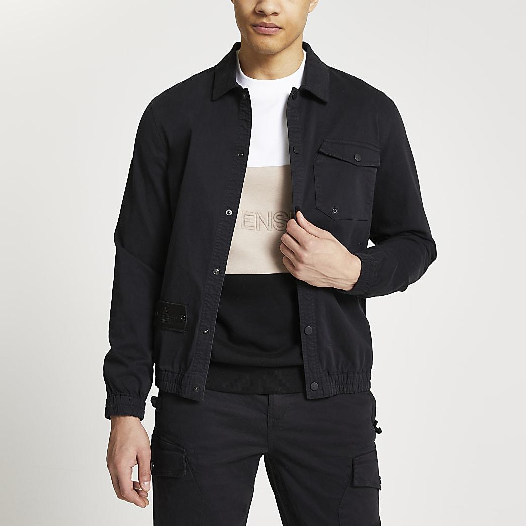 Black long sleeve washed  overshirt