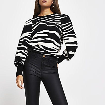 Black long sleeve zebra print sweatshirt