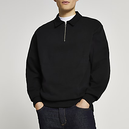 Black long sleeve zip detail sweatshirt
