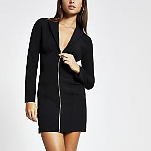 Schwarzes, langärmeliges Minikleid im Blazer-Stil mit Reißverschluss auf der Vorderseite