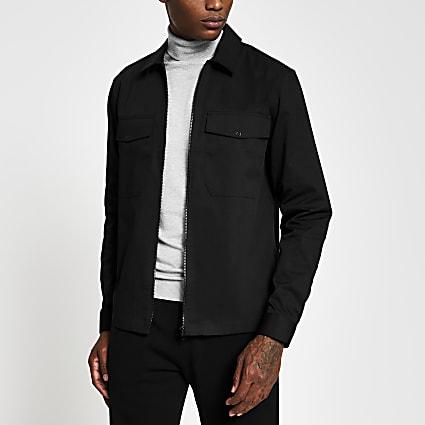 Black long sleeve zip front shacket