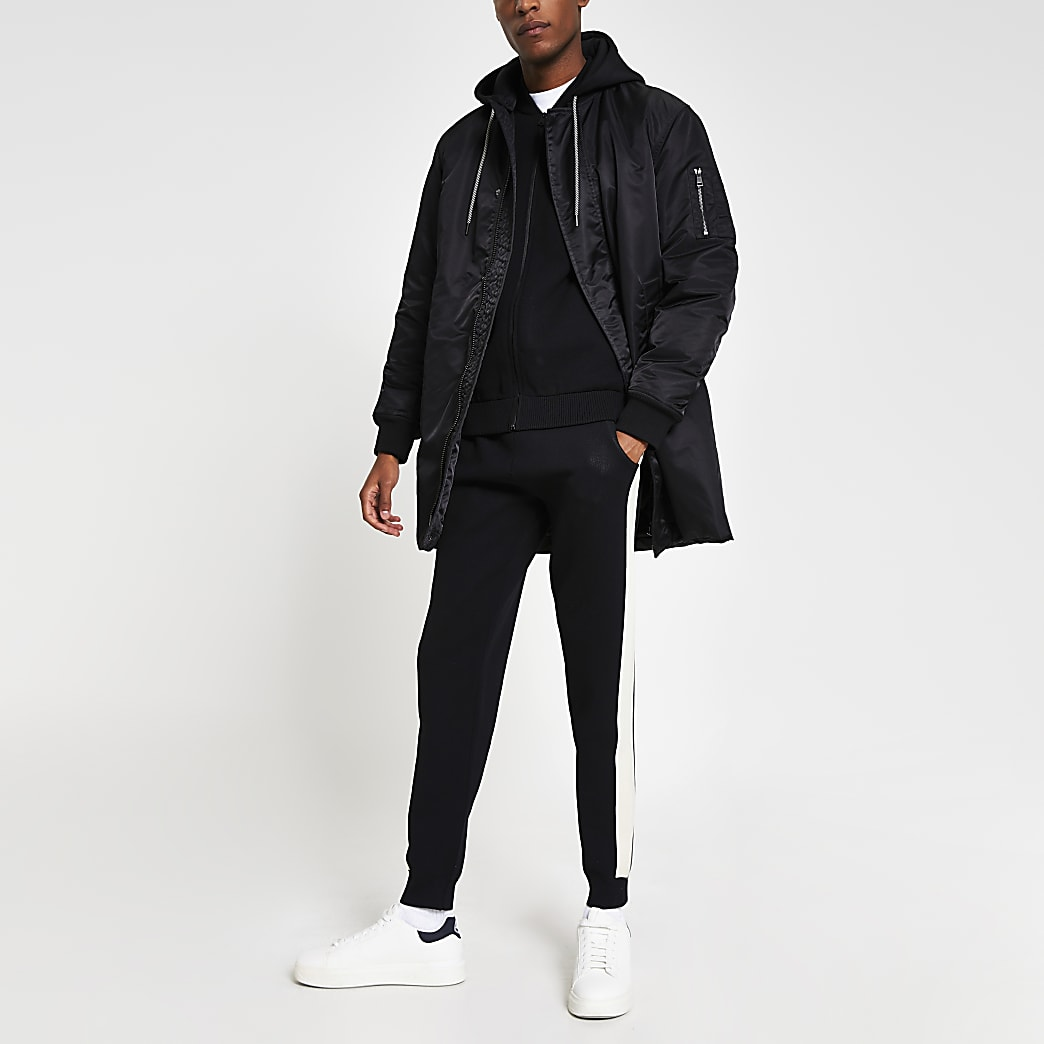 Black longline hooded bomber jacket