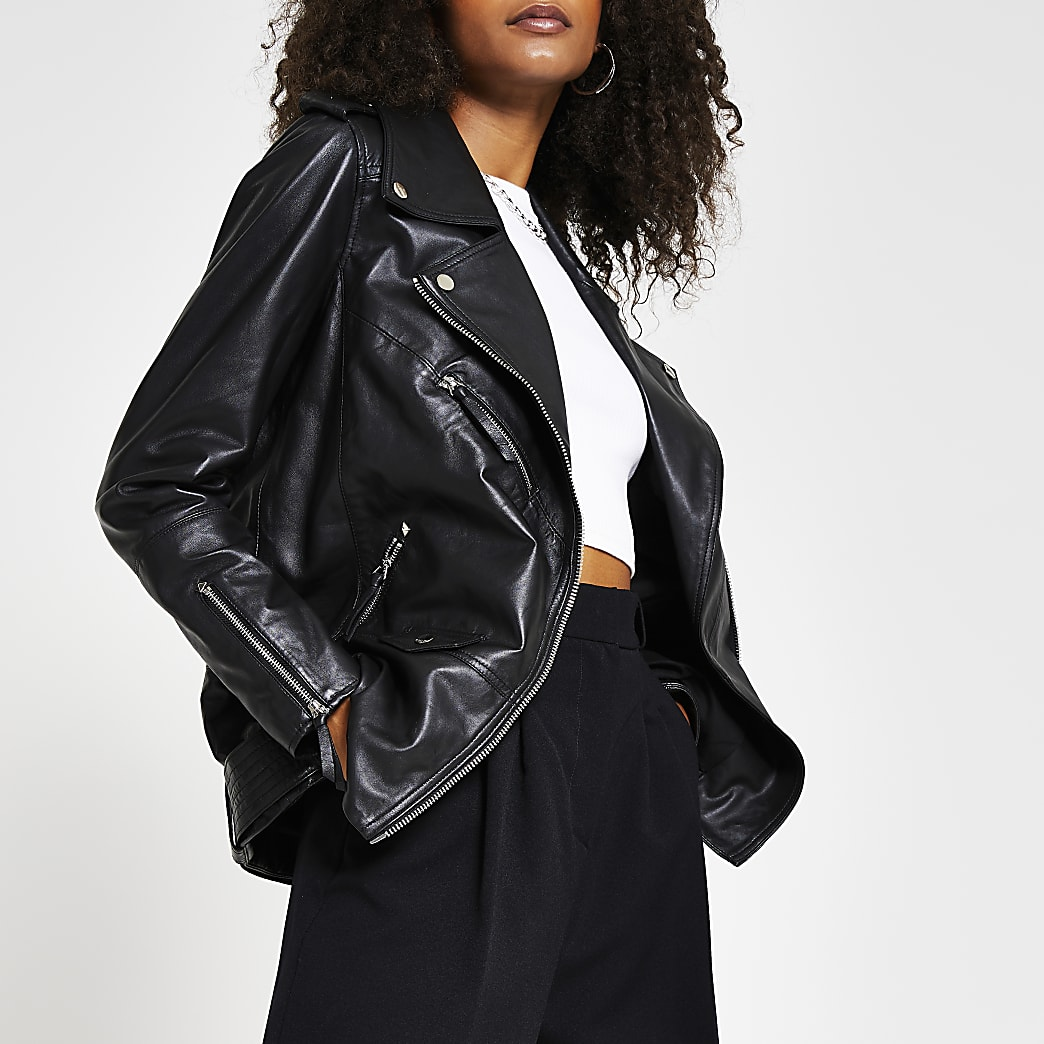 Black longline leather biker jacket