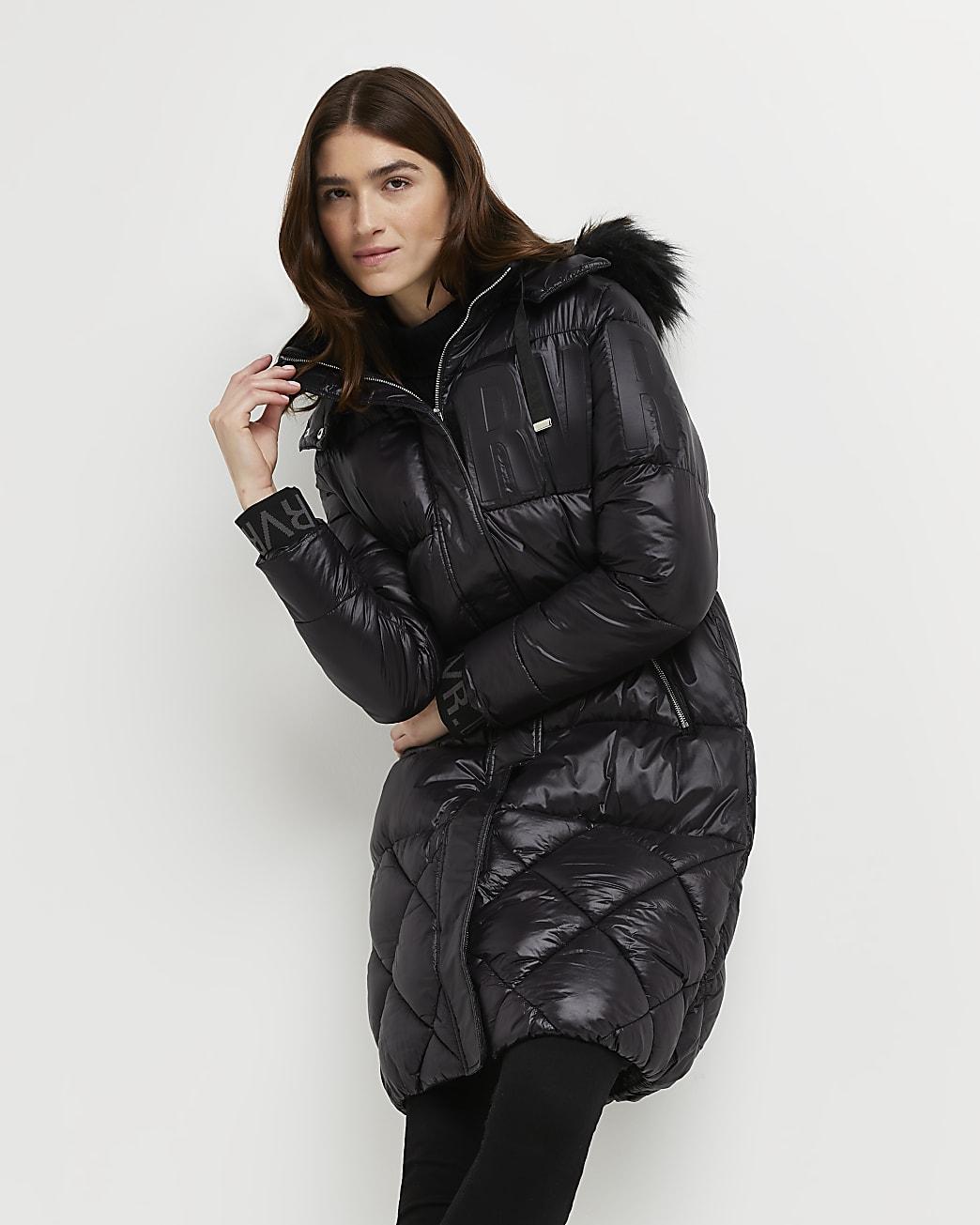Black longline puffer coat