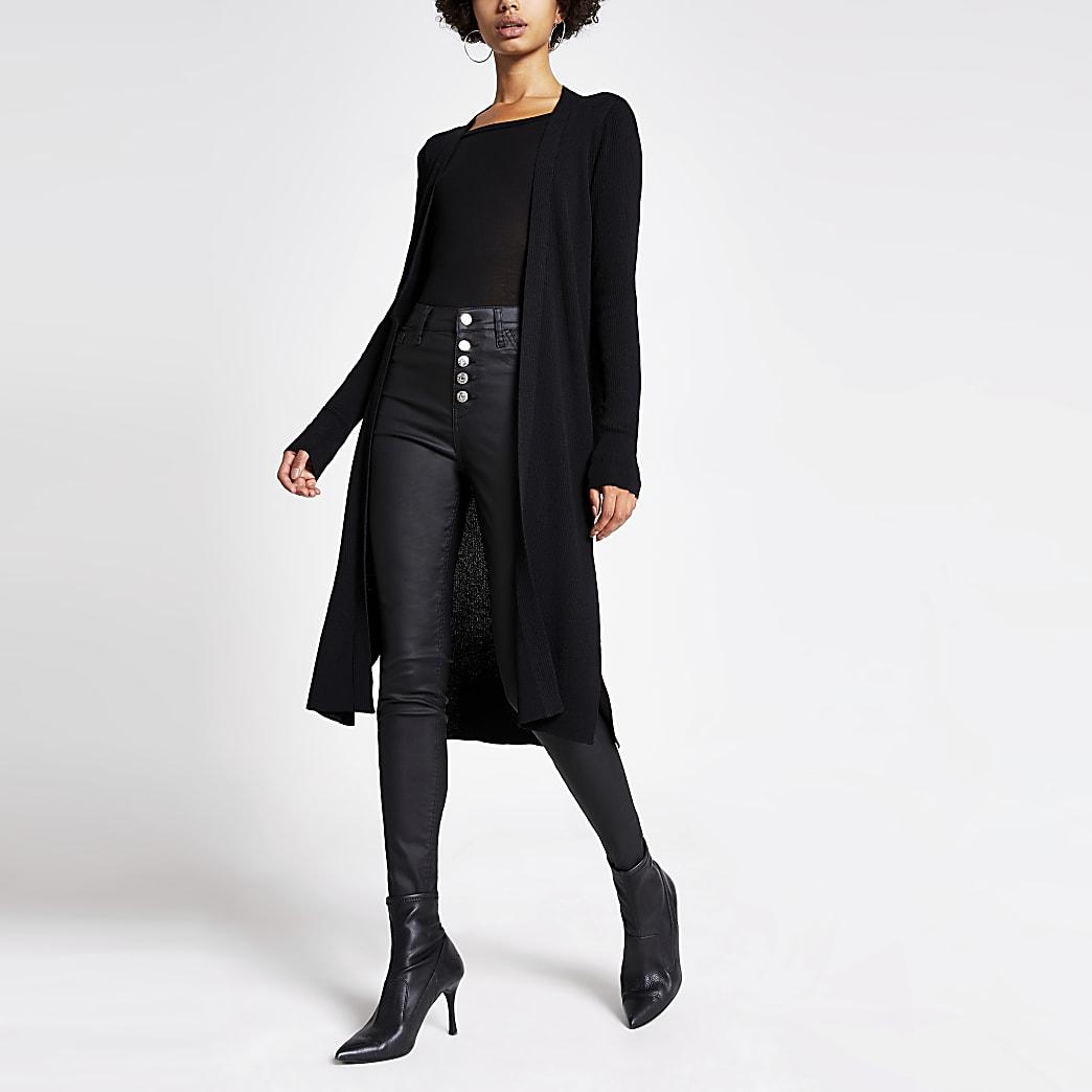Black longline rib knitted cardigan