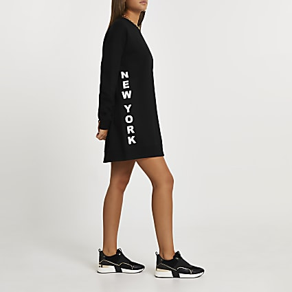 Black longline sweatshirt dress