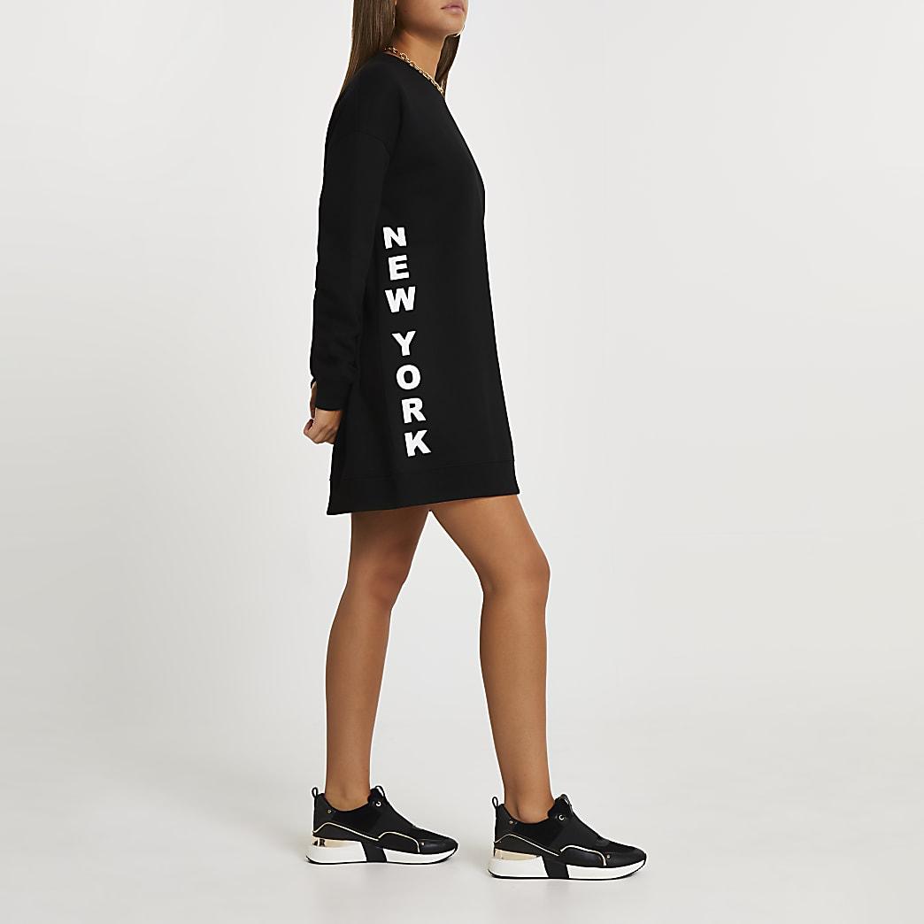 Black longline sweatshirt dress