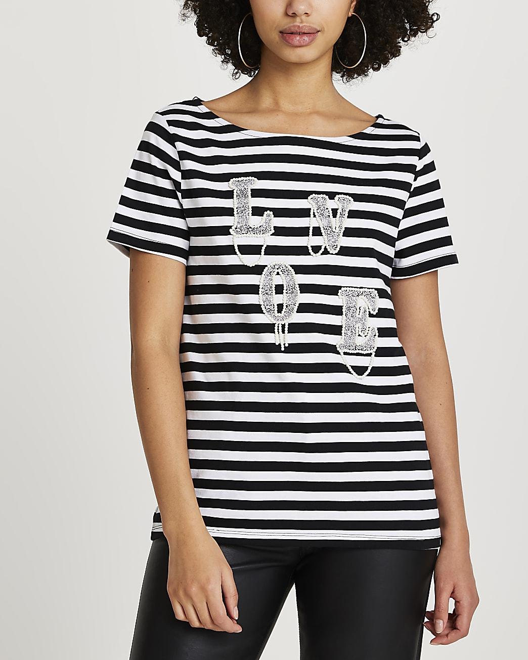 Black 'Love' diamante stripe t-shirt