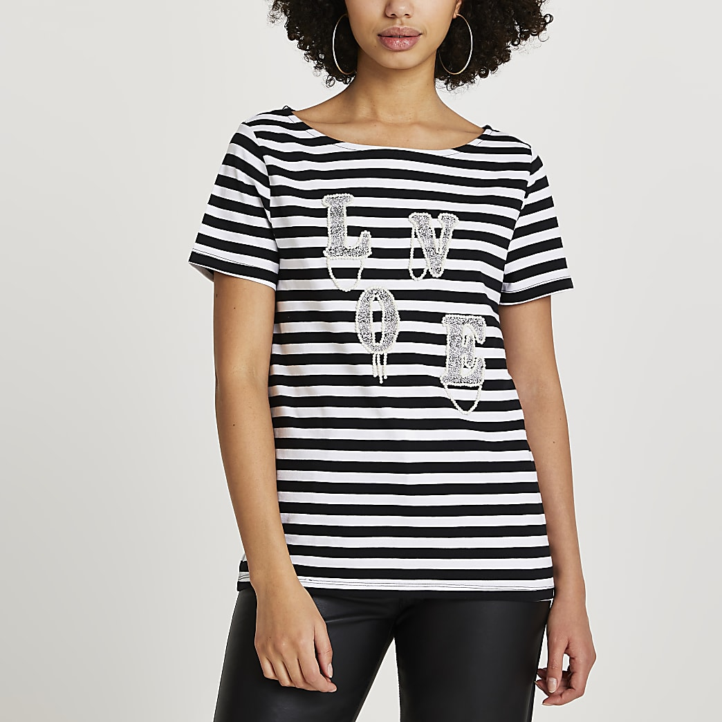 Black 'Love' diamante stripe t-shirt