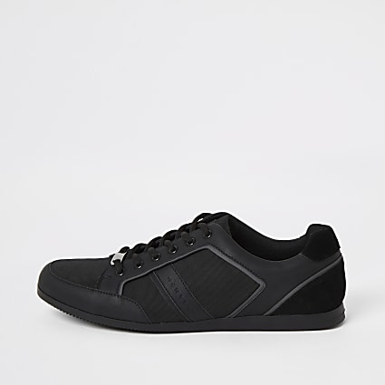 Black low profile lace-up trainers