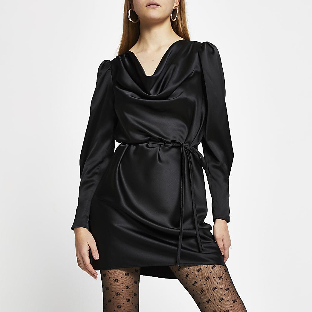 Black Ls Cowl Neck Mini Dress