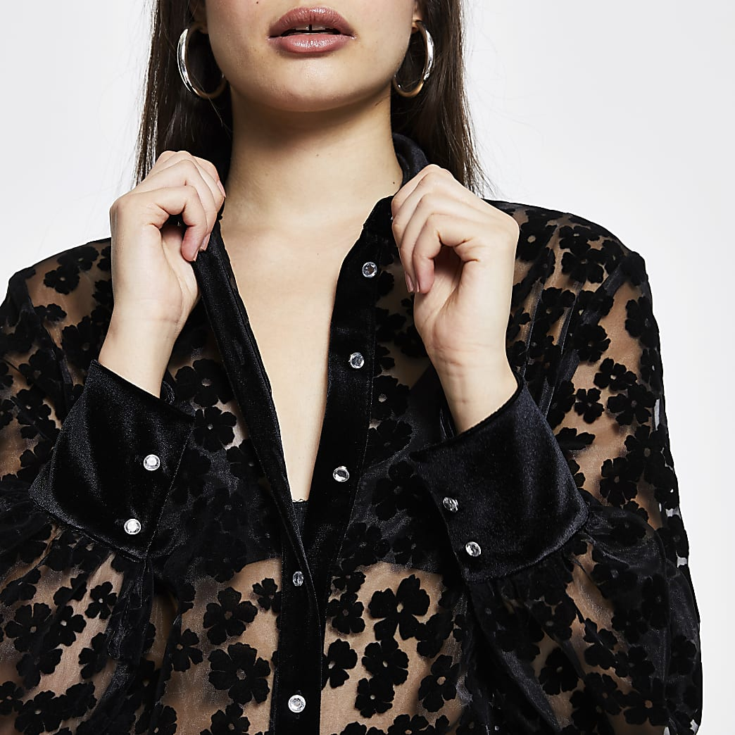 Black Ls Flocked Organza shirt