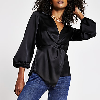 Black Ls Twist Front Shirt