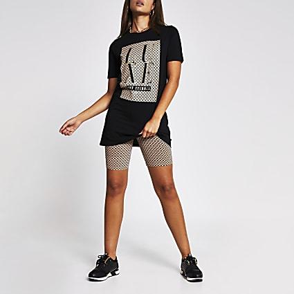 Black Luxe Logo Box Longline T-shirt