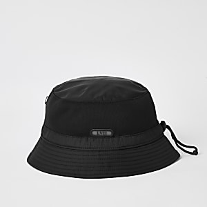 LVII - Zwarte nylon bucket hat
