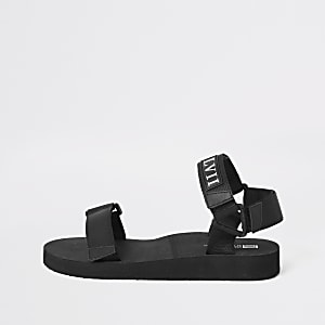 Zwarte 'LVII' sandalen met klitteband