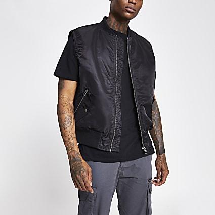 Black MA1 bomber gilet jacket