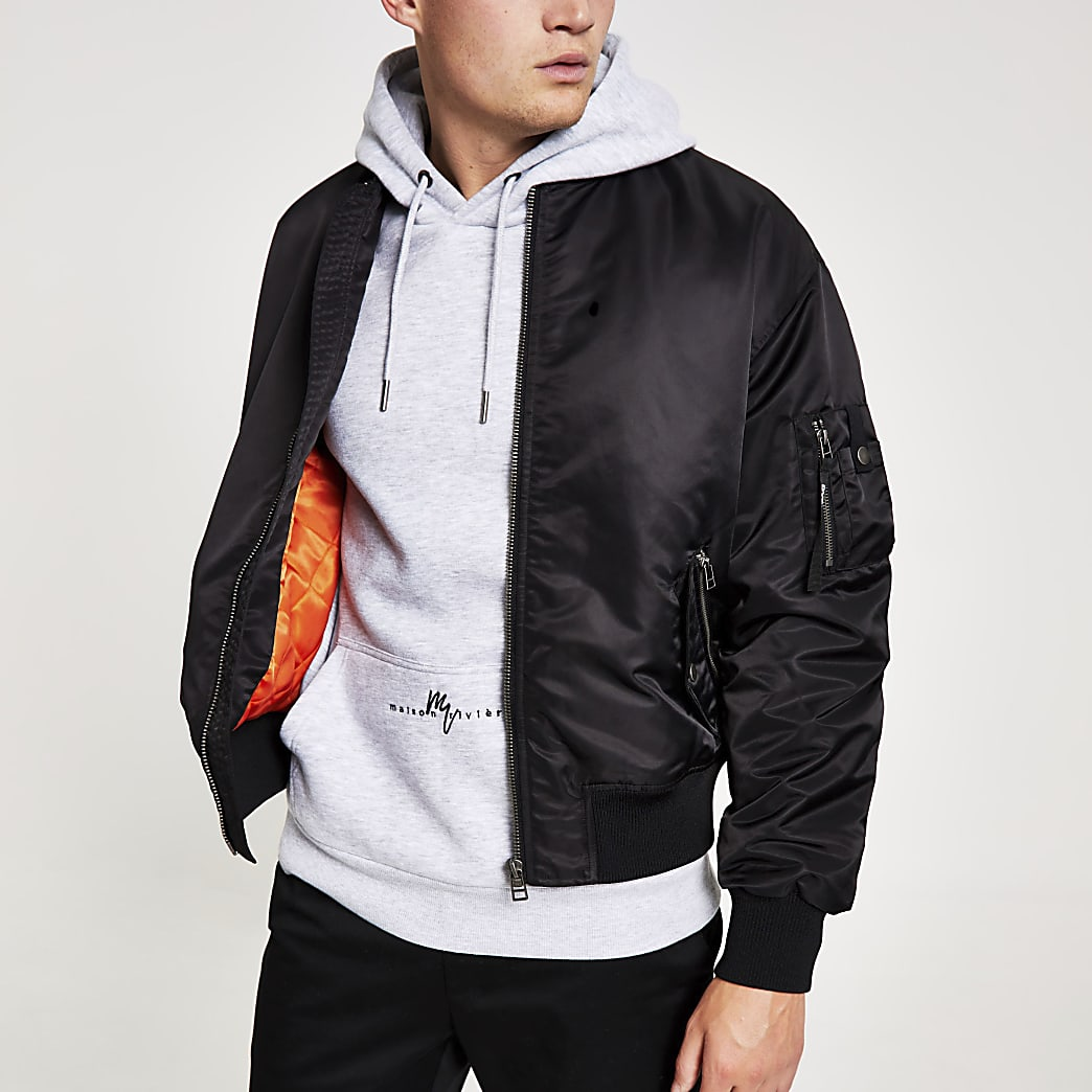 Black MA1 padded bomber jacket