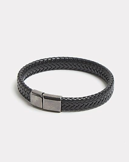 Black magnetic clasp weave design bracelet