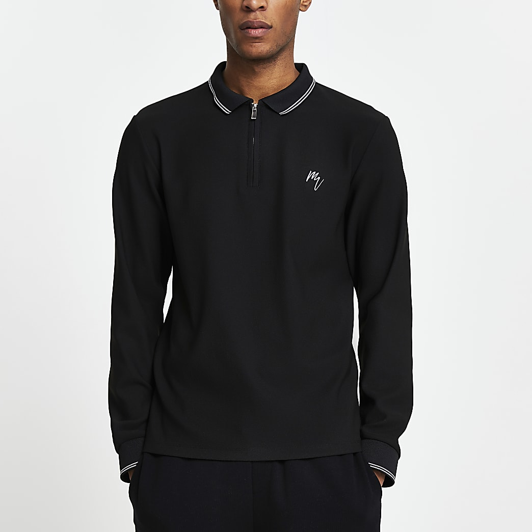 Black Maison Riviera long sleeve polo shirt