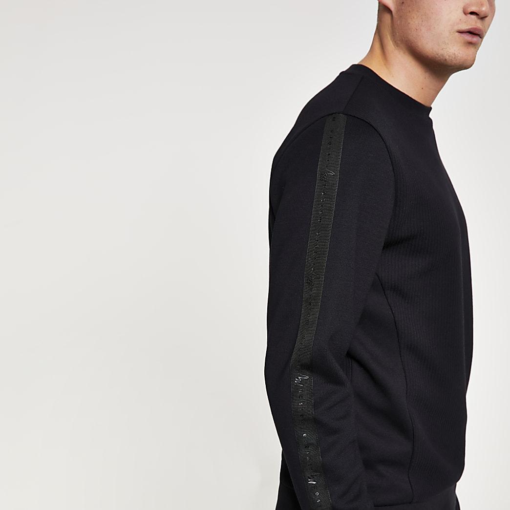 Black Maison Riviera textured sweatshirt