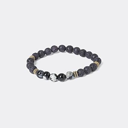 Black marble beaded bracelet